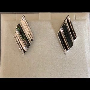 Vintage Taxco sterling abalone shell studs, signed
